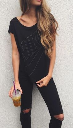 Black T-Shirt 16 and #ripped #jeans