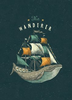 The wanderer whale ship illustration graphic design type typography flag anchor sailor sea ocean nautic poster: such a neat idea! and love the dark palette, very inspiring, the whale as a ship is quite interesting I think! Art And Illustration, Illustrations Posters, Drawn Art, Ouvrages D'art, Grey Art, Art Graphique, Grafik Design, Art Design, Graphic Design Inspiration