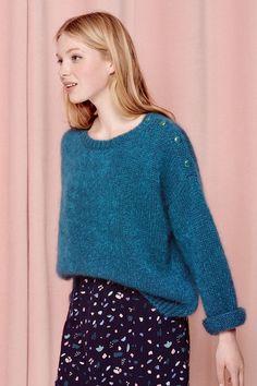 df17574630f5d Pull breton emeraude pour femme mohair superkid laine merinos extrafine  polyamide à des petits hauts - livraison et retour offerts