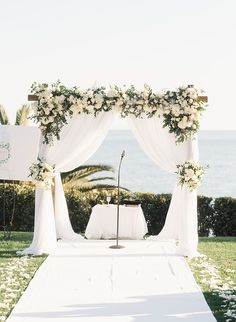 Romantic Oceanfront Wedding at Bel Air Bay Club - Inspired By This Wedding Ceremony Arch, Beach Wedding Reception, Beach Wedding Decorations, Ceremony Decorations, Summer Wedding, Destination Wedding, Beach Wedding Arches, Boho Wedding, Wedding Aisles