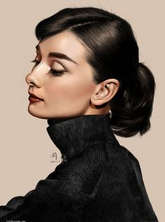 Audrey Hepburn by Gilgamesh jun mao {hyperreal beautiful celebrity female head woman face profile digital portrait} <3 Amazingly Gorgeous !!