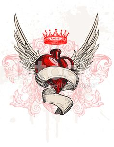 Tattoo Heart Hand drawn illustration - Tattoo Heart royalty-free stock vector art Best Picture For moon tattoo For Your Taste You are lo - Heart With Wings Tattoo, Sacred Heart Tattoos, Tattoo Hearts, Heart Wings, Traditional Heart Tattoos, Scroll Tattoos, Tattoo Old School, Graffiti, Herz Tattoo