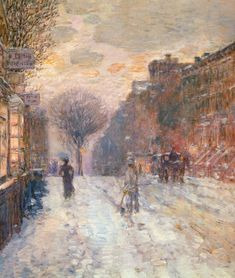 Early Evening, After Snowfall Frederick Childe Hassam - circa 1906 Maier Museum of Art (United States) Painting - oil on canvas Height: 76.2 cm (30 in.), Width: 63.5 cm (25 in.)