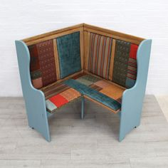 Unusual Oak Corner Church Pew | Recover Team Corner Furniture, Retro Furniture, Furniture Design, House Furniture, Corner Hutch, Corner Seating, Antique Sideboard, Patchwork Fabric, Vintage Chairs