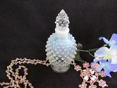 Vintage Fenton French Opalescent Hobnail Perfume Bottle.  Fenton during the 1940 to 1954 made this hand blown opalescent hobnail perfume bottle.