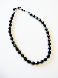 Vintage Necklace Signed Western Germany Jet Black Glass Beads Wedding Bride Bridesmaid Holiday Special Occasion Gift Idea