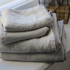 Silver Linen Waffle Bath Towel Washed