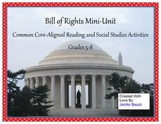 Are you looking for engaging, thought-provoking Bill of Rights activities for your students? This is the packet for you! These activities use the original text of the Bill of Rights and are appropriate for 5th through 8th grade students.