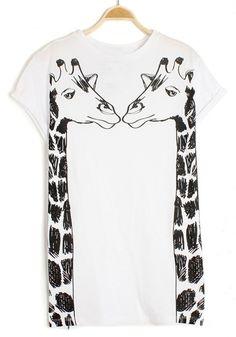 White Giraffe Print Short Sleeve Cotton T-Shirt