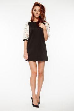 Black Mini Dress with White Organza Sleeve | #USTrendy  www.ustrendy.com