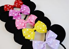 One-size-fits-most Mouse Ears Headband in the color of your choice. These headbands are great by themselves or to help dress up a costume or tutu set. Use for b
