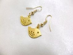 Sweet Gold Bird Dangle Earrings Bird Earrings Gold by BeadSparkleZ