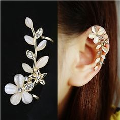 Fashion Golden Leaf Rhinestones Lady's Ear Clip Earring