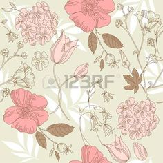 sin patr�n floral vintage, vector floral photo