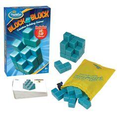 """8-99 jaar. ThinkFun Block By Block. Combineer de zeven """"puzzelstukken"""" volgens de afbeelding op iedere uitdagingskaart"""