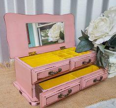 S H A B B Y  C H I C Pink Jewelry BOX - Vintage Wood Shabby Chic Jewellery Box - Jewelry Organizer
