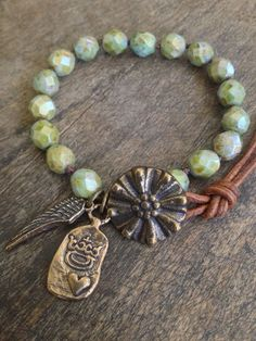 Wing and a Prayer, Hand Knotted Wrap Bracelet.