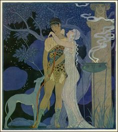 """hildegardavon: """" missfolly George Barbier, Phaedra and Hippolytus (Fashionable Vintage Art Deco Style Illustration) George Barbier (also know Edward W. Larry) was one of the key artists of the """"Art Deco"""" movement and one of the most. Art Deco Illustration, Magazine Illustration, Wall Art Prints, Poster Prints, Canvas Prints, Canvas Art, Greyhound Kunst, Greek And Roman Mythology, Inspiration Art"""