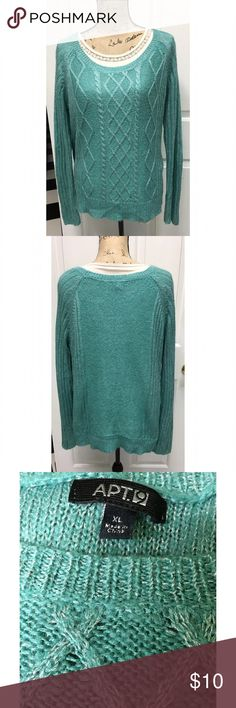 Teal & Silver Sweater size XL Apt. 9 Teal Knit Sweater with a silver shimmering look. size XL & Like new Apt. 9 Sweaters Crew & Scoop Necks