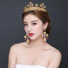Best Sale Bridal Tiaras With Rhinestone Shining Design Earings Accessories Wedding Jewelry Set Hair Red Cheap