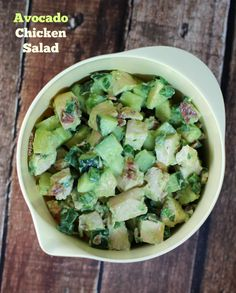 Cool, crisp cucumbers, chunks of rich avocado, a bit of creamy mayonnaise, the bright flavor of lime, a sprinkle of green onion and cilantro, and the smoky taste of bacon take this hearty and low carb Avocado Chicken Salad to the next level. Only 231 calories or 5 Weight Watchers SmartPoints per cup! www.emilybites.com
