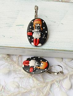 Earrings Cute Girl Whimsical Jewelry Black Red White Earrings Unique gift for Girlfriend Jewelry for Girl Woman Polymer clay