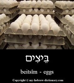 """How to say """"Eggs"""" in Hebrew.  Click here to hear it spoken by an Israeli: http://www.my-hebrew-dictionary.com/eggs.php"""