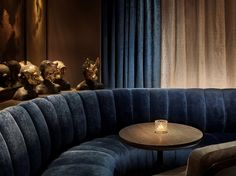 The other day we had a first look at the newly opened 11 Howard hotel off Howard and Lafayette Streets in SoHo. The hotel, a venture of New York real estat Lounge Design, Dining Room Design, 11 Howard Hotel, Underground Bar, Soho Hotel, Space Copenhagen, Restaurants, Banquette Seating, Sofa Seats