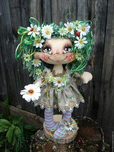 Купить Текстильная кукла Ромашковая феечка. - разноцветный, интерьерная кукла, текстильная кукла, подарок девушке
