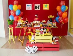 Mickey Mouse Kidsparty Party Ideas Photo 4 of 9 Catch My Party Mickey Mouse Theme Party, Fiesta Mickey Mouse, Mickey Mouse Photos, Mickey Mouse Clubhouse Birthday Party, Mickey Mouse 1st Birthday, Classic Mickey Mouse, 2nd Birthday, Dessert Table, Party Ideas