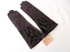 Vintage Florence Italy Leather Gloves in Black with Tags from Stanganini Ties & Gloves by EyeSpyGoods on Etsy