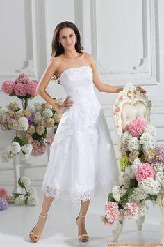 Strapless vestidos de novia corte corazon de organza 2014