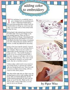 Adding color to embroidery.  Article from Inspired Ideas on issuu!  :)
