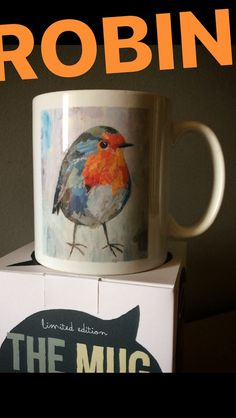 // NEW MUG COLLECTION // `ROBIN BIRD` // limited edition from the original artwork by ©philippe patricio // all rights reserved // Robin Bird, Torn Paper, Collage Artists, Shape And Form, New Work, Original Artwork, Art Pieces, Palette, Hand Painted