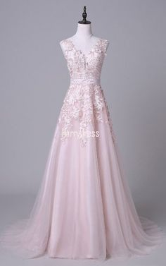 Sweet Princess V-neck Tulle Appliques Lace Court Train Pink Backless Prom Dresses - MillyBridal V Neck Wedding Dress, Pink Wedding Dresses, Bridal Dresses, Girls Dresses, Bridesmaid Dresses, Women's Dresses, Party Dresses, Open Back Prom Dresses, Backless Prom Dresses