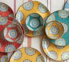Elsa Medallion Melamine Snack Bowl Mixed set of 4 & Elsa Medallion Melamine Tableware looks like hand-painted Italian ...