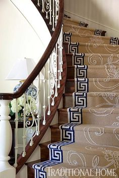 Arkansas Home with a Stylish Palette | Traditional Home | Greek Key design border for stair runner