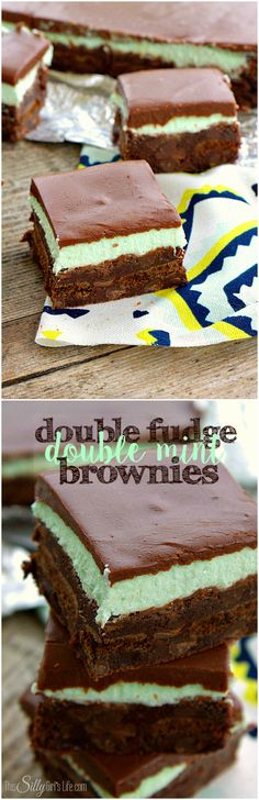 Double Fudge Double Mint Brownies, sinful fudgey brownies stuffed with thin mint cookies and topped with layers of mint frosting and more fudge! - ThisSillyGirlsLife.com #ad