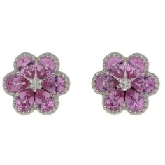 Pink Sapphire Diamond Floral Stud Earrings ($2,770) ❤ liked on Polyvore featuring jewelry, earrings, diamond earrings, pink sapphire jewelry, diamond stud earrings, diamond jewellery and pink sapphire stud earrings