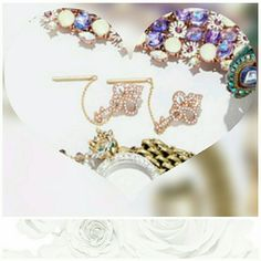 Betsey Johnson convertible Earrings Sparkling pink crystal antique keys  Comes with 2 backings, chain is removable to wear key as a stud...really cute Betsey Johnson Jewelry Earrings