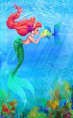 Ariel and Flounder Ariel Mermaid, Ariel The Little Mermaid, Mermaid Art, Disney Princess Ariel, Princess Art, Disney Princesses, Disney Fan Art, Disney Love, Disney Stuff