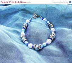 Blue gem bracelet, beaded bracelet, Once upon a time, snow queen, fairytale jewelry, ouat jewelry