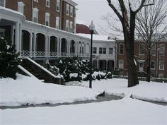 Hollins University in the snow