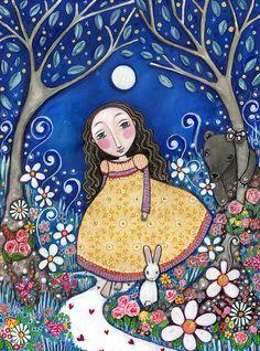 """Animales muchacha del conejo oso Láminas secreto jardín muchachas arte habitación vivero pared arte popular caprichoso forestales pintura arbolado - """"Secret Garden"""""""