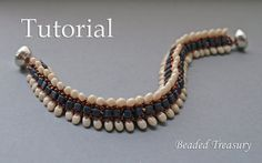 Dragon Crest beadweaving bracelet tutorial / by BeadedTreasury Czech SOLO beads, square beads and seed beads size 11/0.