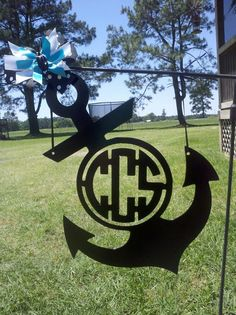 Anchor monogram yard sign by BackyardMetalArts on Etsy, $28.00