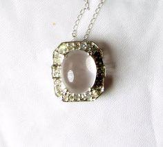 Vintage Rose Quartz Diamond Pendant 10KT White by EclecticVintager, $135.00