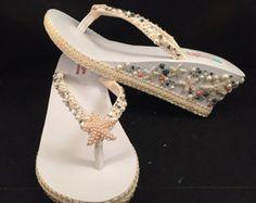 Para dulce novia nupcial Flip Flops personalizada cuña Flip Flops sandalias de plataforma de estrellas de mar Marfil novia cuña sandalias Bling ojotas zapatos de boda