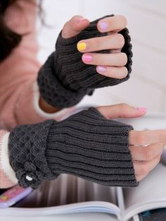 Gifts for Fashionistas: Crocheted Fingerless Gloves Fingerless Mittens Gray by Freshlotus