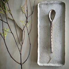 Stitched spoon on Copacabana Table Tray by earthandbaker